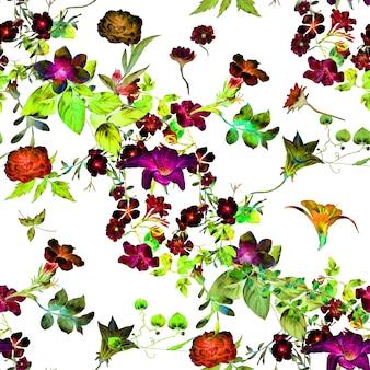 Aquarel schilderij van blad en bloemen naadloze patroon