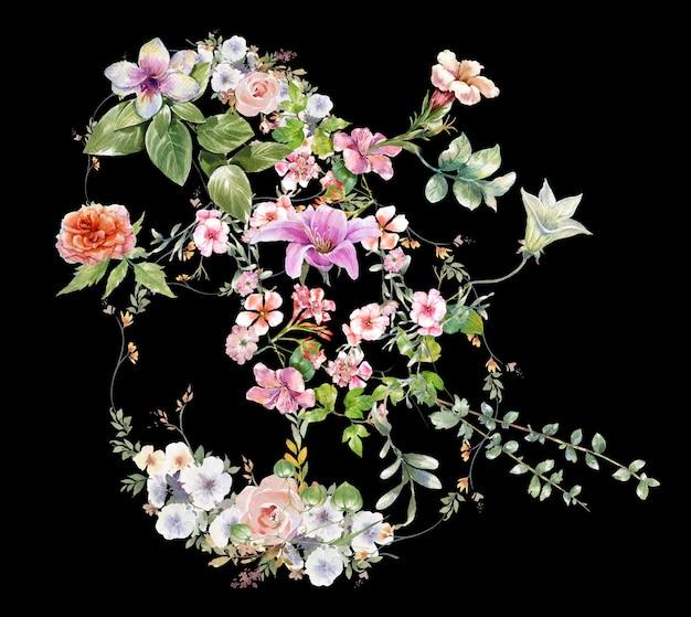 Aquarel schilderij van bladeren en bloemen
