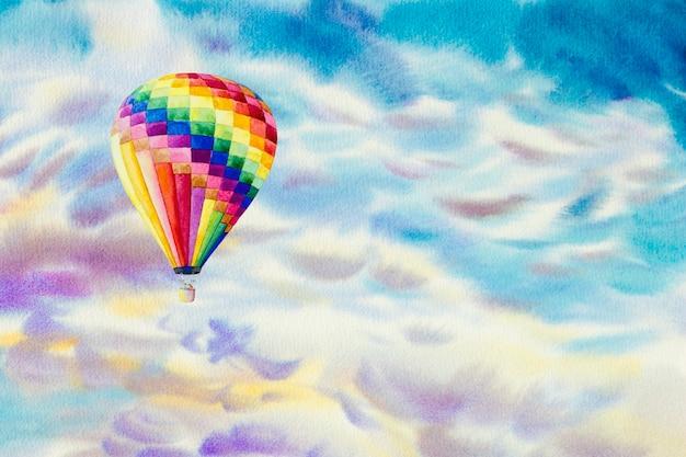 Aquarel schilderijen wolk, lucht kleurrijk klimaat, schoonheid azuurblauw zacht in de lucht en seizoen natuur abstracte achtergrond. handgeschilderde impressionistische.