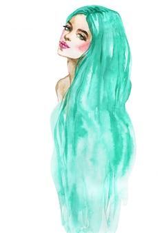 Aquarel schoonheid jonge vrouw. hand getekend portret van zeemeermin. schilderij mode illustratie op wit
