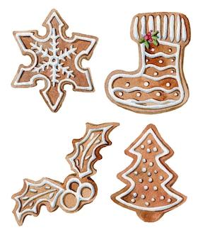 Aquarel set gember kerstkoekjes