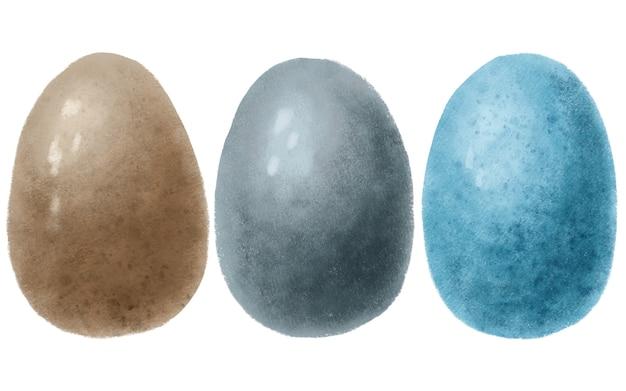Aquarel set hand getrokken blauwe, bruine, grijs gekleurde paaseieren geïsoleerd op een witte achtergrond
