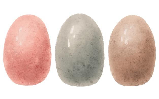Aquarel set hand getrokken roze, beige, grijs gekleurde paaseieren geïsoleerd op een witte achtergrond