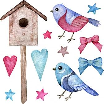 Aquarel set roze en blauwe vogels met een vogelhuisje, harten, sterren en strikken. handgetekende clipart.