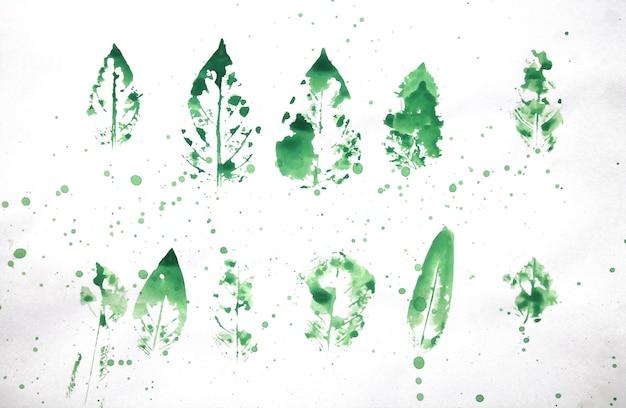 Aquarel stempel van een blad