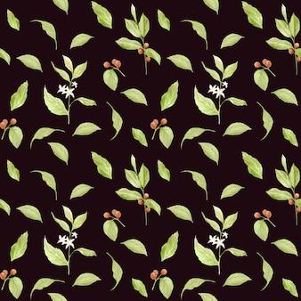 Aquarel takken van koffie naadloze patroon