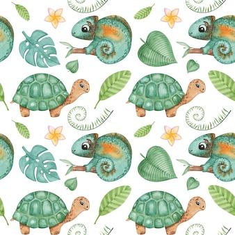 Aquarel tekenen met schildpadden en bladeren