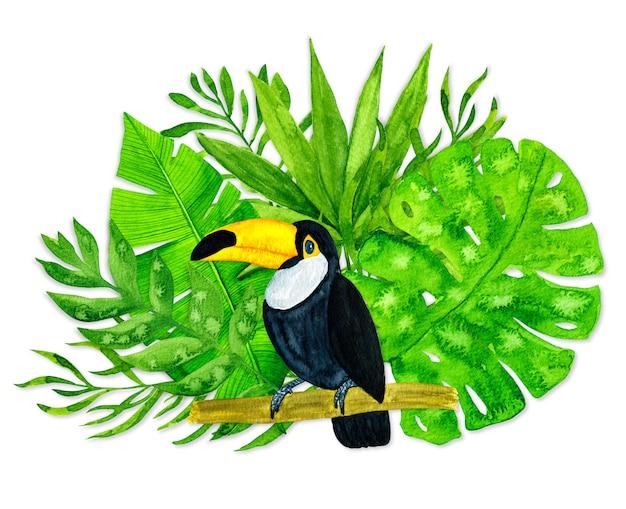 Aquarel tropische bladeren en toekan op witte achtergrond