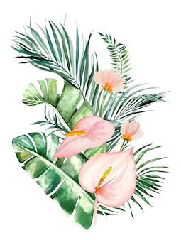 Aquarel tropische bloemen en bladeren boeket