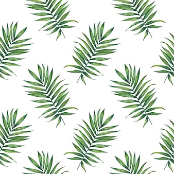 Aquarel tropische palm verlaat naadloze patroon.