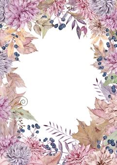 Aquarel val frame met dahlia's en asters, herfstbladeren en bessen. thanksgiving day-kaart.