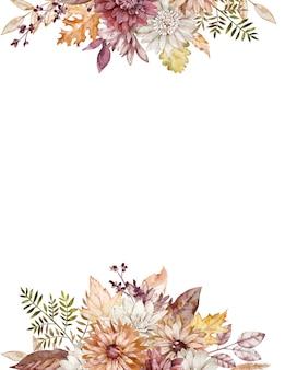 Aquarel val grenzen. herfst karmozijnrode, witte en oranje asters. herfst bloemen frame. herfst bloemen sjabloon.