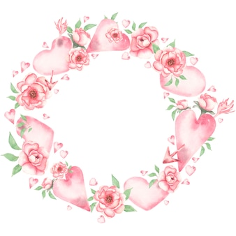 Aquarel valentijnsdag krans clipart, romantische roze bloemen hart illustraties. valentine love illustratie, baby girl florals print