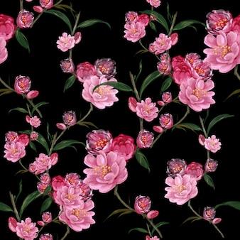 Aquarel van blad en bloemen, naadloze patroon op donkere achtergrond