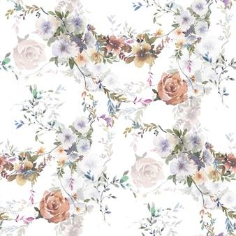 Aquarel van blad en bloemen, naadloze patroon op witte achtergrond