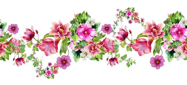 Aquarel van blad en bloemen