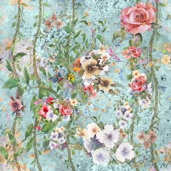 Aquarel van bladeren en bloemen