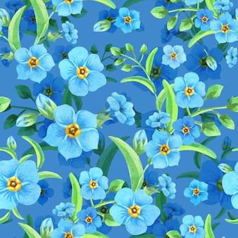 Aquarel vergeet-mij-nietjes op een blauwe achtergrond.