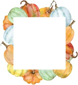 Aquarel vierkante frame met kleurrijke pompoenen. botanische herfst illustratie. dankzegging en herfstsjabloon voor uw ontwerp. herfst oogst