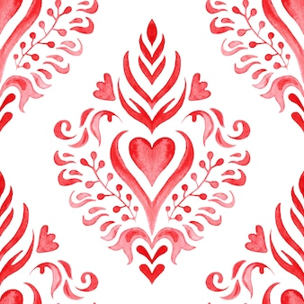 Aquarel vignet naadloze ontwerp met hart. het koninklijke bloemenontwerp van het luxe vintage damast. aquarel tegel