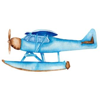 Aquarel vintage blauw vliegtuig