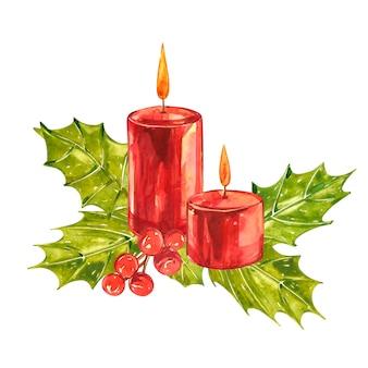 Aquarel vintage kerst illustraties. kerst kaars, boom en decoraties. designlook op planken
