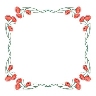 Aquarel vintage rode papavers frame