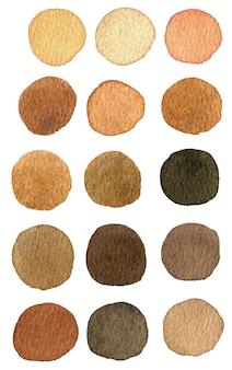Aquarel vlekken van beige en bruine kleuren.