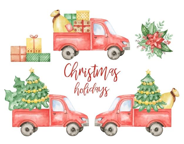 Aquarel vrolijk kerstfeest 2021 clipart, gelukkig nieuwjaar set, kerst elementen geïsoleerd, kerst vrachtwagen, auto collectie, handgeschilderde kerst illustratie