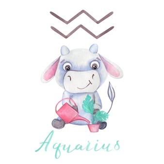 Aquarel waterman stier symbool dierenriem