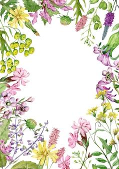 Aquarel wilde bloemen frame geïsoleerd op een witte achtergrond met kopie space
