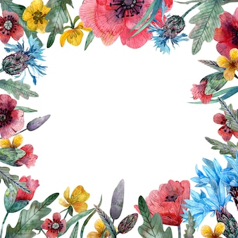 Aquarel wilde bloemen frame