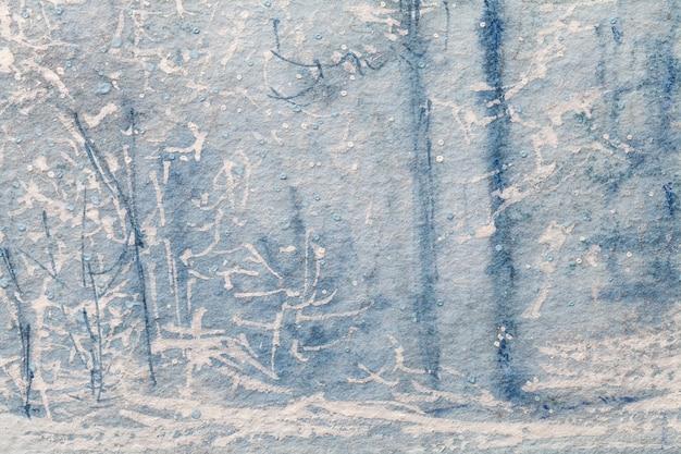 Aquarel winter bos schilderij op canvas