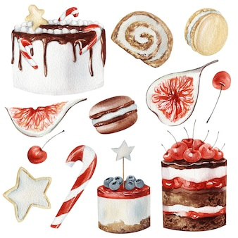Aquarel winter kerst desserts