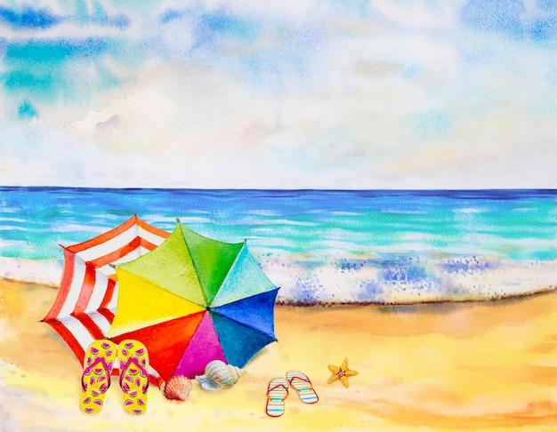 Aquarel zeegezicht schilderij kleurrijk van zee strand