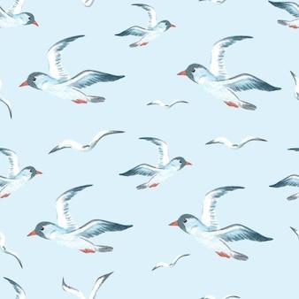 Aquarel zeevogel marine naadloos patroon voor texile
