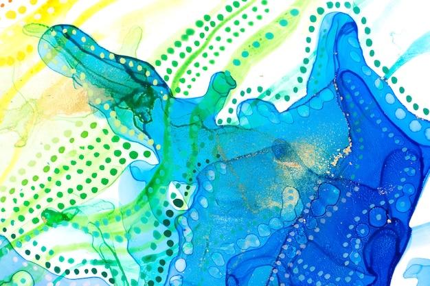 Aquarel zomer abstracte vlekken en stippen achtergrond inkt verloop textuur