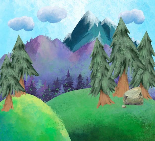 Aquarel zomer berglandschap, natuurlijke zonnige platteland scène.