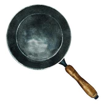 Aquarel zwarte koekenpan met houten handvat