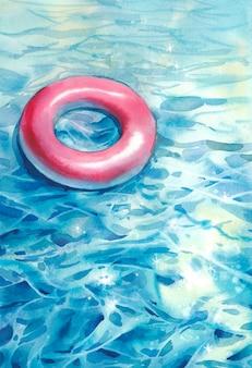 Aquarel zwembad illustratie met drijvende ring en bruisend water. handgeschilderde zomer artwork. vakantie kaart ontwerp met zwembad zweven