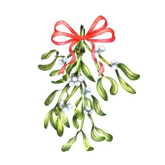 Aquarelboeket met rode strik groene maretak met bessen decor voor de winter met merry christmas