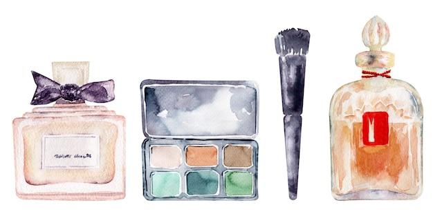 Aquarelillustratie met verschillende parfumflesjes en cosmetica