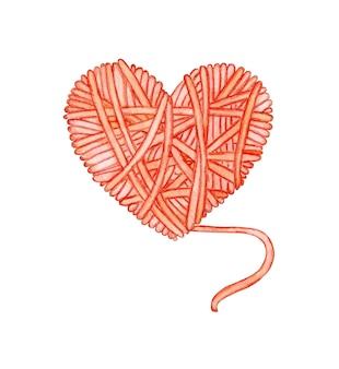Aquarelillustratie van een rode streng draad in de vorm van een hart logo voor breiers Premium Foto
