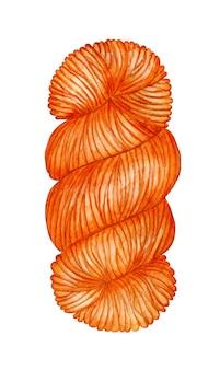 Aquarelillustratie van een streng oranje garenstreng de wol is gedraaid tot een bal