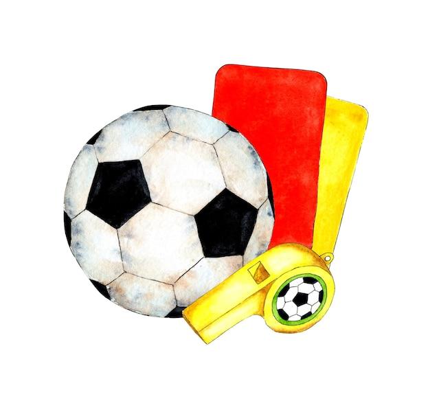 Aquarelillustratie van voetbalset balfluitje en scheidsrechterskaarten sportattributen