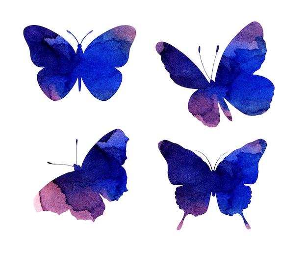 Aquarelillustraties van prachtige lila silhouetten van vlinders. insecten vallen. aquarel vlekken, vlinders. geïsoleerd op wit. hand getekend