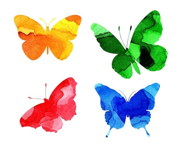 Aquarelillustraties van prachtige veelkleurige silhouetten van vlinders insectenvallen