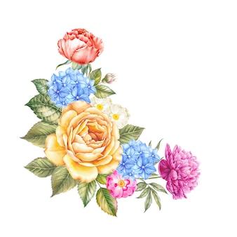 Aquarelle bloemen op geïsoleerde aquarel