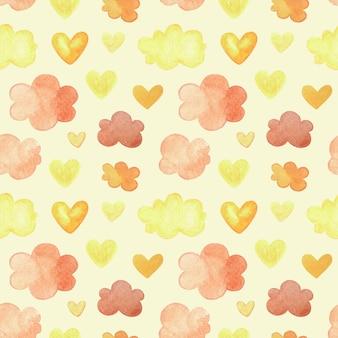 Aquarelpatroon met herfstwolken en hartjes in de kleur van de bladeren