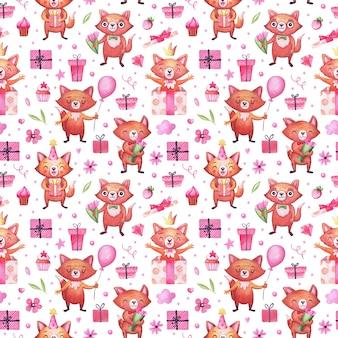 Aquarelpatroon met schattige vossen voor de feestdagen, valentijnsdag, verjaardag en anderen. achtergrond voor uitnodigingen, verpakkingen en andere feestattributen